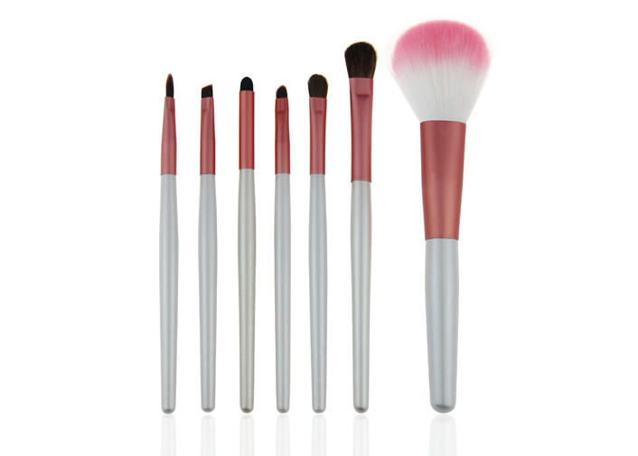 Round Travel Makeup Brush Set Pink Makeup Brushes Kit With White handle