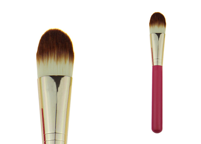 Rose Red Powder Foundation Brush 100mm Wooden Handle Gold Ferrule