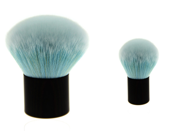 Round Shaped Nylon Hair Kabuki Makeup Brush Private Label Makeup Brushes Blue Color