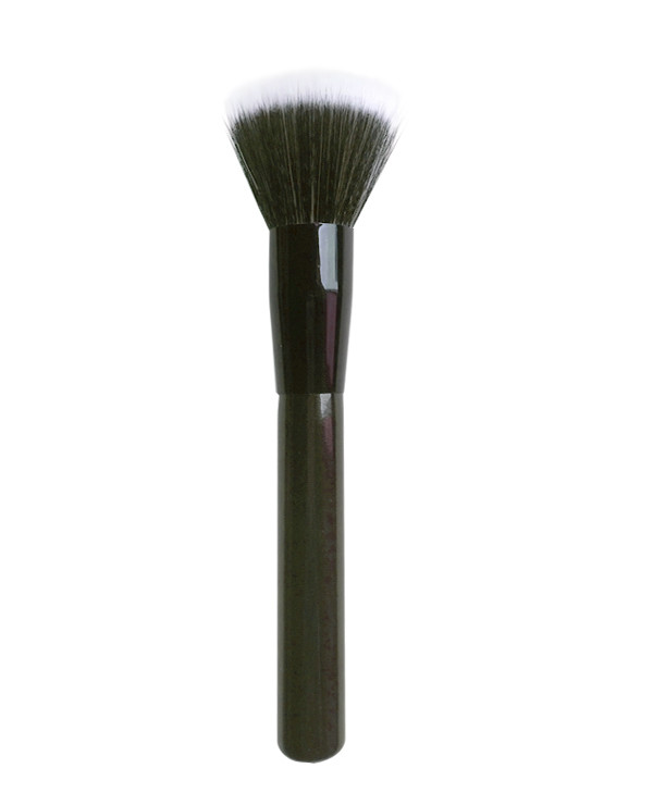 Black Long Handle Flat Top Makeup Brush Powder Brush  With White Black Nylon Hair