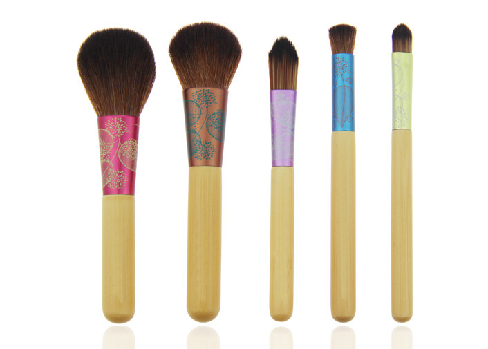 Colorful Travel Size Makeup Brushes , 10 Piece Cosmetic Makeup Brush Set