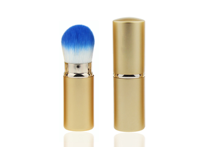 Professional Retractable Makeup Brush For Powder Foundation With Metal Handle