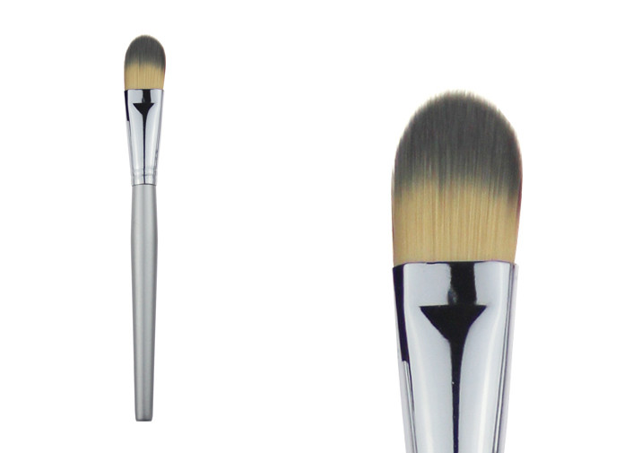 Silver Handle Synthetic Hair Stippling Makeup Brush For Powder Foundation